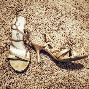 White House Black Market Gold Strappy Heels